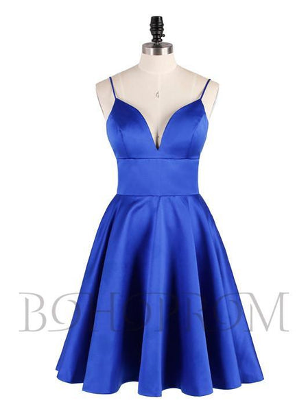 BohoProm homecoming dresses Charming Satin Spaghetti Straps Neckline Short A-line Homecoming Dresses HD153