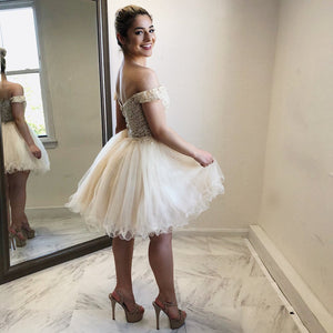 BohoProm homecoming dresses Charming Tulle Off-the-shoulder Neckline A-line Homecoming Dresses HD142