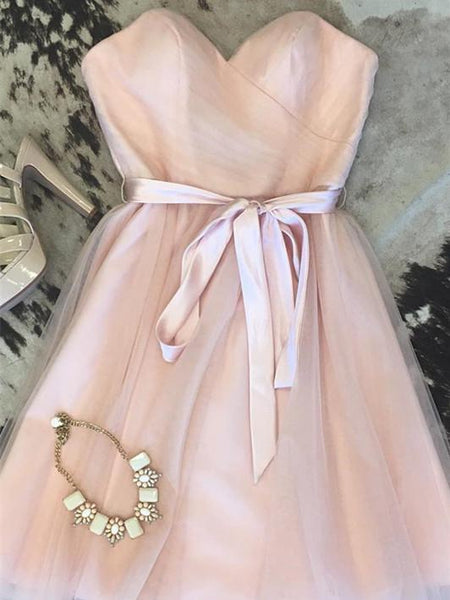 BohoProm homecoming dresses Charming Tulle Sweetheart Neckline A-line Homecoming Dresses With Belt HD103