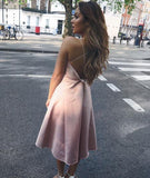 BohoProm homecoming dresses Chic Satin Spaghetti Straps Neckline Tea-length A-line Homecoming Dresses HD112