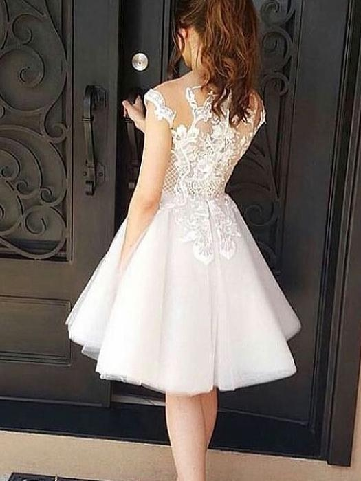 BohoProm homecoming dresses Chic Tulle Bateau Neckline Knee-length A-line Homecoming Dresses With Appliques HD096