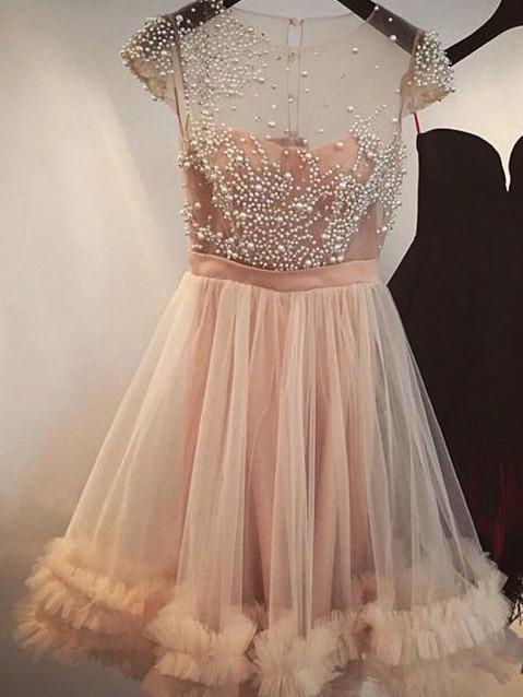 BohoProm homecoming dresses Chic Tulle Scoop Neckline Cap Sleeves A-line Homecoming Dresses With Pearls HD079