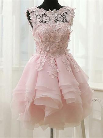 BohoProm homecoming dresses Delicate Lace & Chiffon Bateau Neckline A-line Homecoming Dresses With Appliques HD114