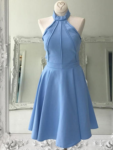 BohoProm homecoming dresses Delicate Stretch Satin High-neck Neckline A-line Homecoming Dresses With Pleats HD072