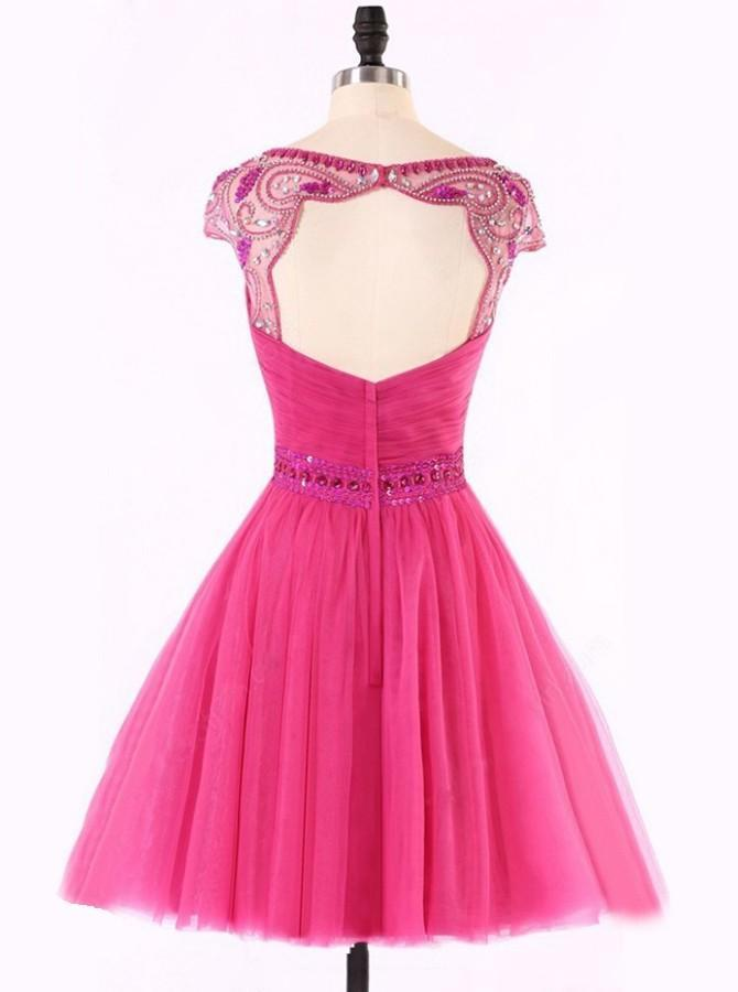 BohoProm homecoming dresses Delicate Tulle Bataeu Neckline Cap Sleeves A-line Homecoming Dresses With Beadings HD028