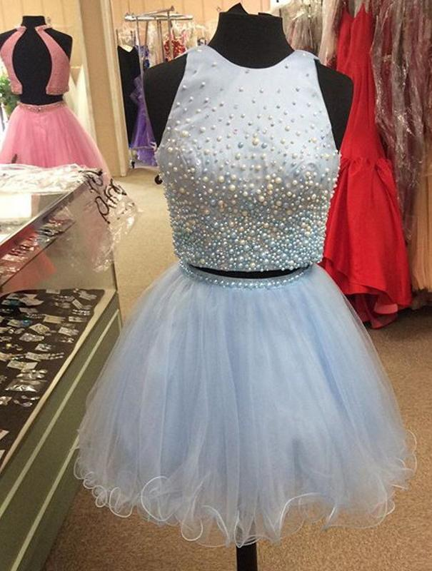 BohoProm homecoming dresses Delicate Tulle Jewel Neckline Cut-out 2 Pieces A-line Homecoming Dresses With Pearls HD086