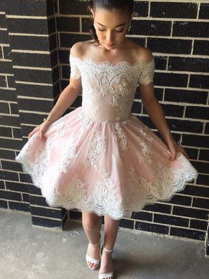 BohoProm homecoming dresses Delicate Tulle Off-the-shoulder Neckline A-line Homecoming Dresses With Appliques HD044