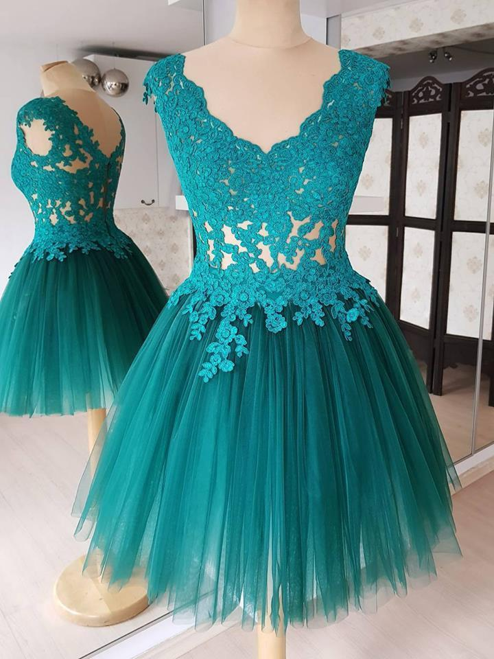 BohoProm homecoming dresses Delicate Tulle V-neck Neckline Cap Sleeves A-line Homecoming Dresses HD122