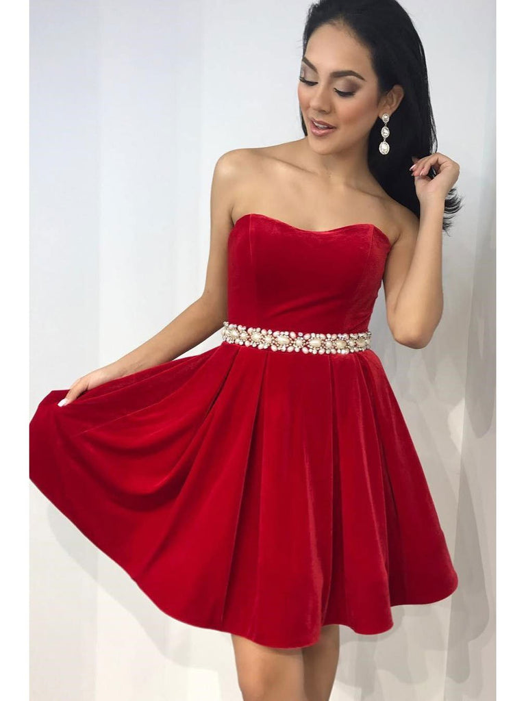 BohoProm homecoming dresses Elegant Fleece Strapless Neckline A-line Homecoming Dresses With Rhinestones HD004