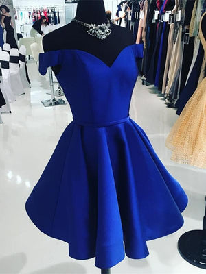 BohoProm homecoming dresses Elegant Satin Off-the-shoulder Neckline Short Length A-line Homecoming Dresses HD117