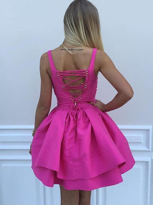 BohoProm homecoming dresses Excellent Satin V-neck Neckline Short Length Ball Gown Homecoming Dress HD100