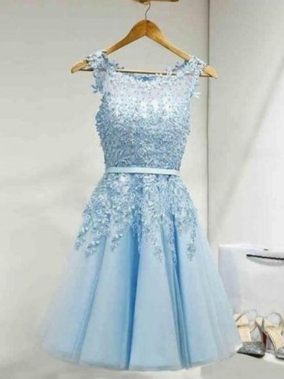 BohoProm homecoming dresses Excellent Tulle Scoop Neckline A-line Homecoming Dresses With Appliques HD184