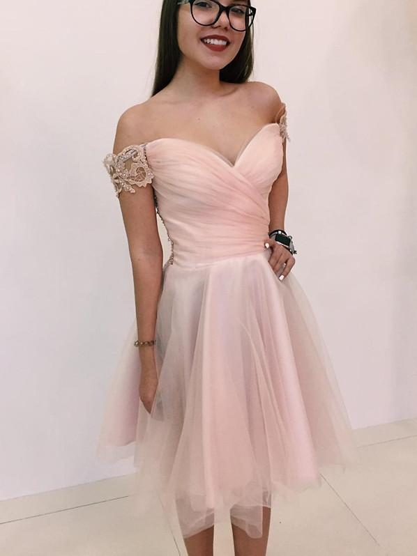 BohoProm homecoming dresses Exquisite Tulle Off-the-shoulder Neckline Knee-length A-line Homecoming Dress HD090