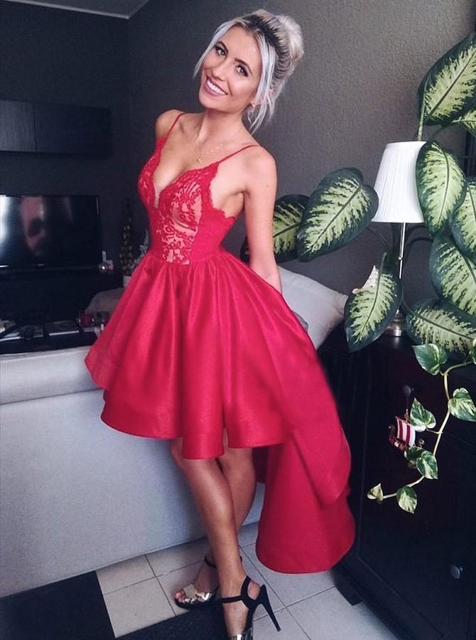 BohoProm homecoming dresses Eye-catching Satin & Lace Spaghetti Straps Neckline Hi-lo A-line Homecoming Dresses HD200