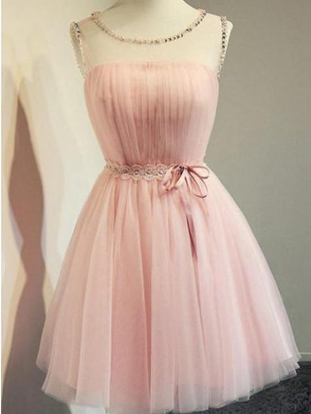 BohoProm homecoming dresses Eye-catching Tulle Scoop Neckline A-line Homecoming Dresses HD172