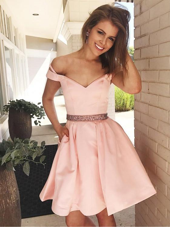 BohoProm homecoming dresses Fabulous Satin Off-the-shoulder Neckline A-line Homecoming Dresses HD174