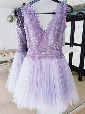 BohoProm homecoming dresses Fabulous Tulle V-neck Neckline Short Length A-line Homecoming Dresses HD130