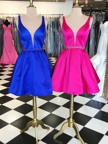 BohoProm homecoming dresses Fashionable Satin V-neck Neckline A-line Homecoming Dresses With Beadings HD037
