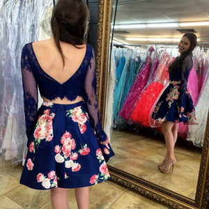 BohoProm homecoming dresses Glamorous Lace & Satin Bateau Neckline 2 Pieces A-line Homecoming Dresses HD150