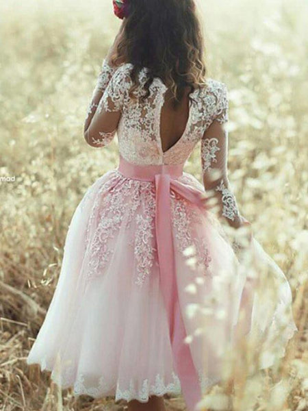 BohoProm homecoming dresses Gorgeous Tulle V-neck Neckline Knee-length A-line Homecoming Dresses With Appliques HD095
