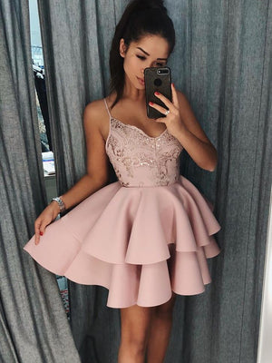 BohoProm homecoming dresses Graceful Satin Spaghetti Straps Neckline Short A-line Homecoming Dresses HD193