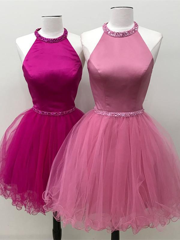 BohoProm homecoming dresses Graceful Satin & Tulle Jewel Neckline A-line Homecoming Dresses HD214