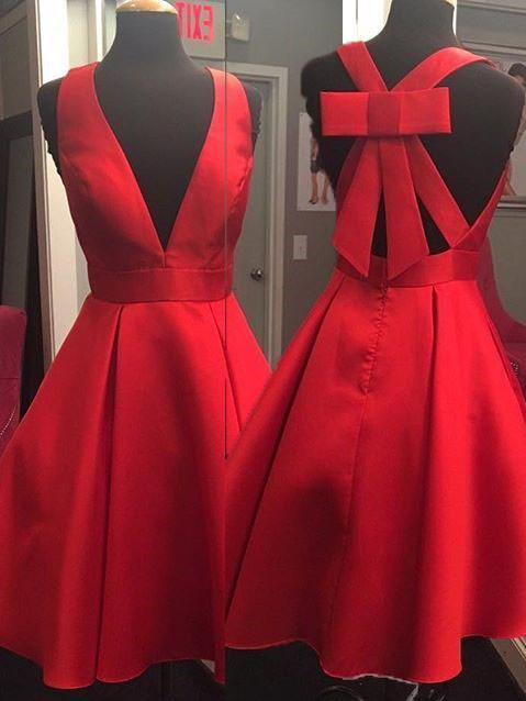 BohoProm homecoming dresses Graceful Satin V-neck Neckline Short Length A-line Homecoming Dresses With Bowknot HD063