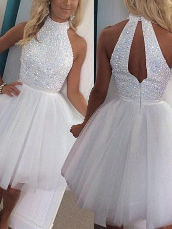 BohoProm homecoming dresses Graceful Tulle High-neck Neckline A-line Homecoming Dresses With Rhinestones HD021
