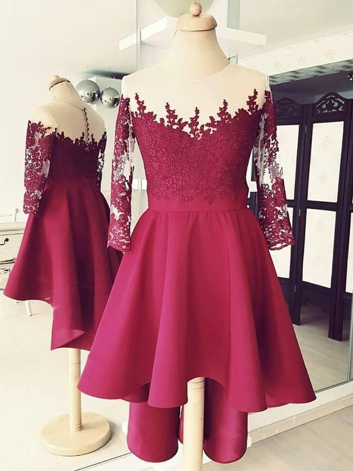 BohoProm homecoming dresses Marvelous Chiffon Jewel Neckline 3/4 Sleeves A-line Homecoming Dresses HD126