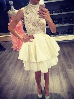 BohoProm homecoming dresses Marvelous Satin High-neck Neckline Short Length A-line Homecoming Dress HD073