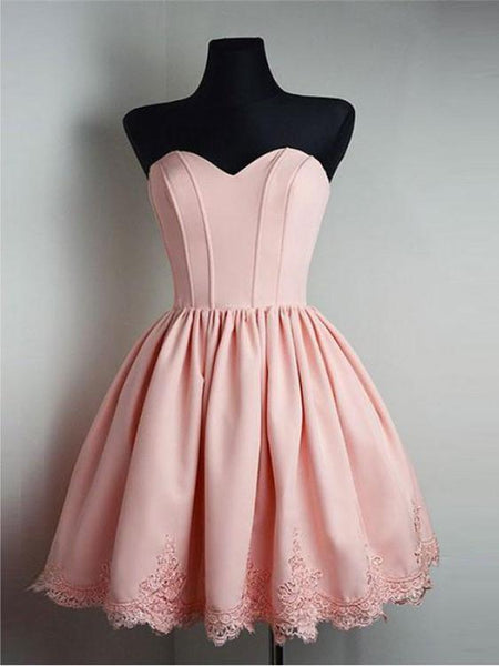 BohoProm homecoming dresses Modern Satin Sweetheart Neckline A-line Homecoming Dresses With Appliques HD207