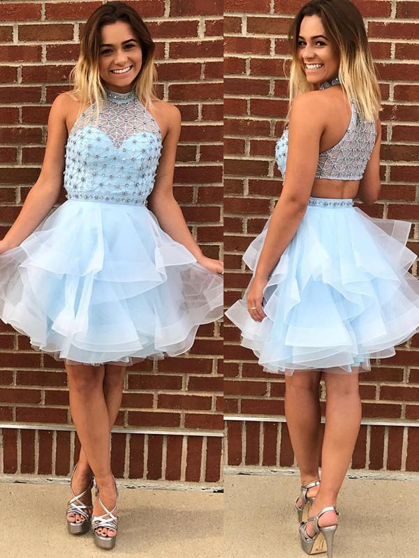 BohoProm homecoming dresses Modern Tulle High-neck Neckline A-line Homecoming Dresses With Beadings HD019