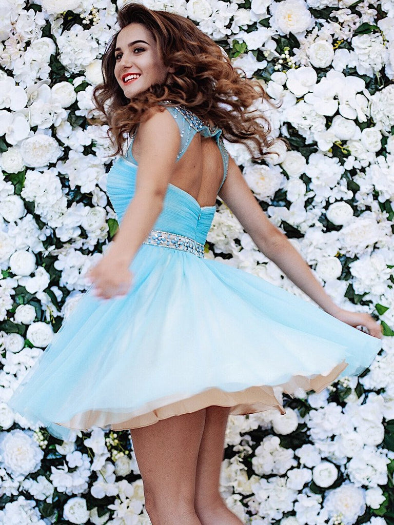 BohoProm homecoming dresses Outstanding Tulle Scoop Neckline Cut-out A-line Homecoming Dresses With Beadings HD027