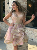 BohoProm homecoming dresses Popular Tulle V-neck Neckline Short A-line Homecoming Dresses HD167