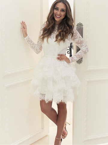 BohoProm homecoming dresses Romantic Lace Jewel Neckline Long Sleeves A-line Homecoming Dresses With Pleats HD067