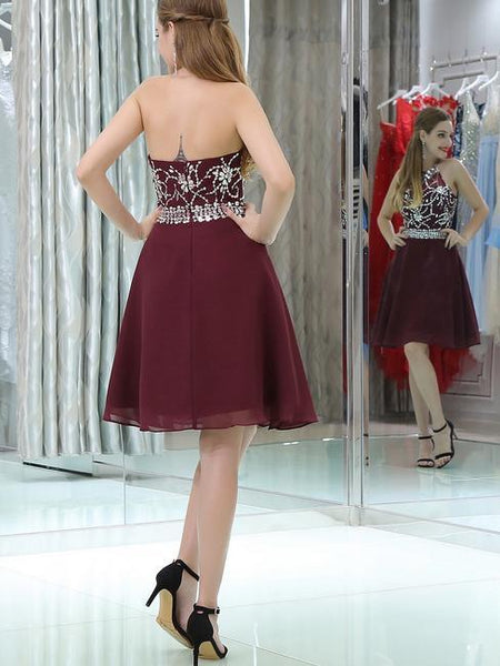 BohoProm homecoming dresses Sexy Chiffon Halter Neckline A-line Homecoming Dresses With Rhinestones HD023