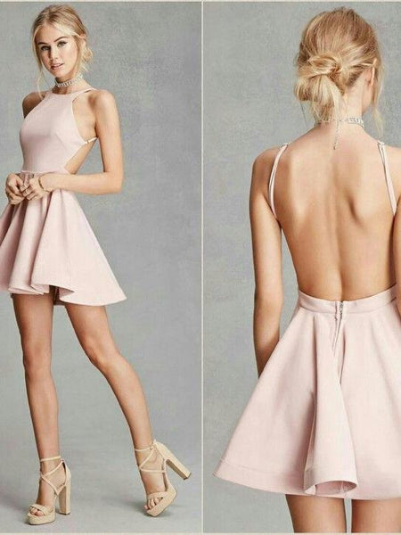 BohoProm homecoming dresses Sexy Satin Jewel Neckline backless Short A-line Homecoming Dresses HD149