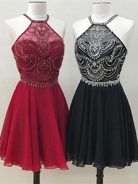 BohoProm homecoming dresses Shimmering Chiffon Chiffon Halter Neckline A-line Homecoming Dresses With HD131