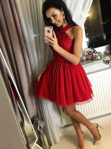 BohoProm homecoming dresses Shining Tulle Halter Neckline A-line Homecoming Dresses With Sequins HD118