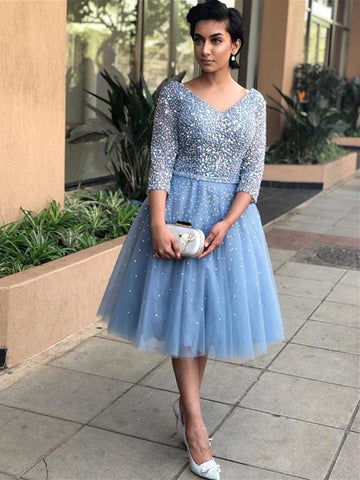 BohoProm homecoming dresses Shining Tulle V-neck Neckline A-line Homecoming Dresses With Rhinestones HD165