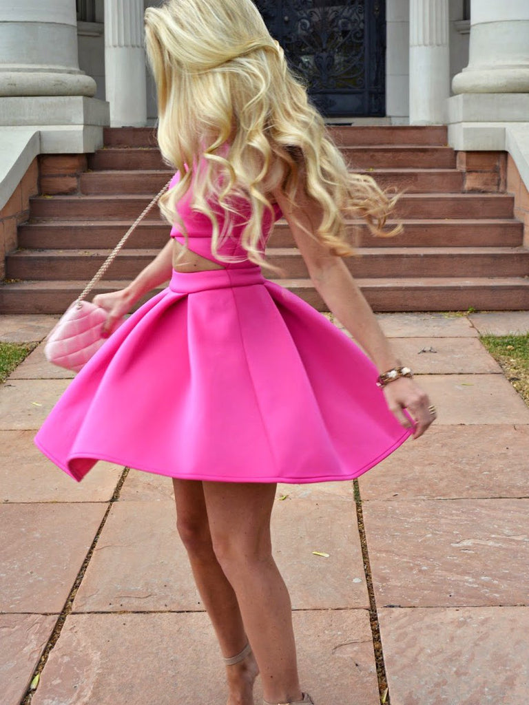 BohoProm homecoming dresses Simple Satin Jewel Neckline Cut-out A-line Homecoming Dress HD098