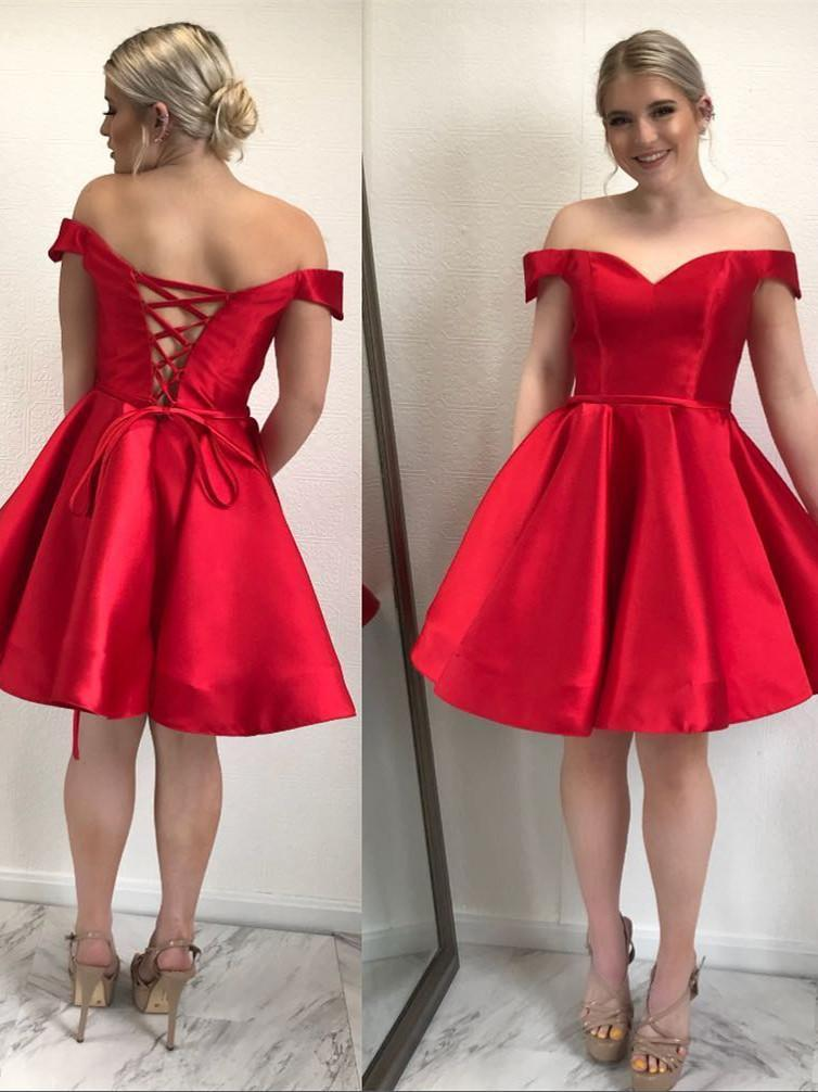 BohoProm homecoming dresses Simple Satin Off-the-shoulder Neckline A-line Homecoming Dresses HD140