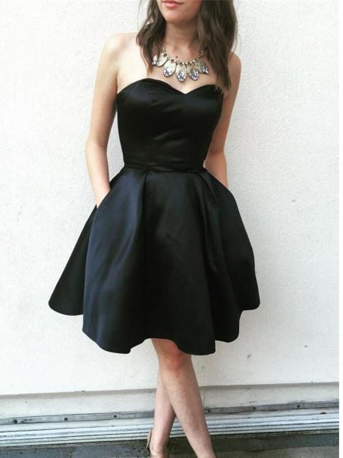 BohoProm homecoming dresses Simple Satin Sweetheart Neckline Short A-line Homecoming Dresses HD205