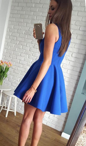 BohoProm homecoming dresses Simple Satin V-neck Neckline Short Length A-line Homecoming Dresses HD119