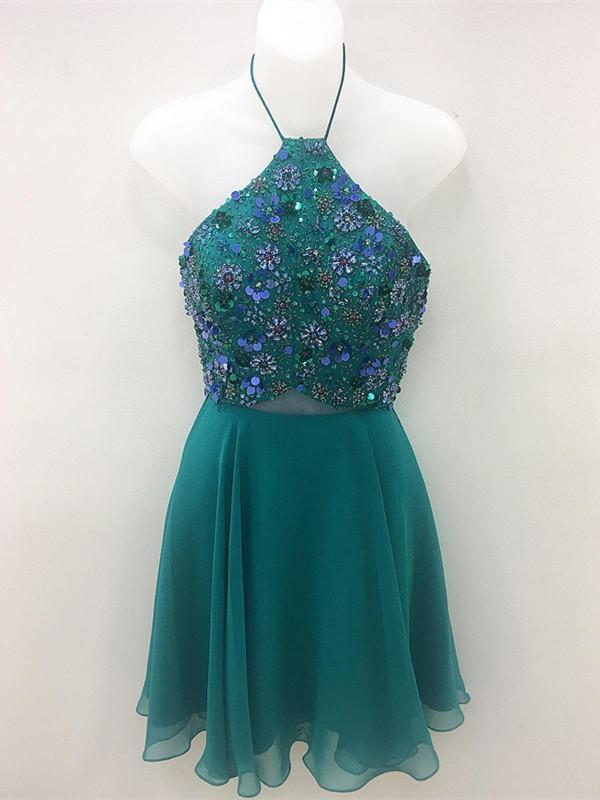BohoProm homecoming dresses Sparkly Chiffon Halter Neckline Short A-line Homecoming Dresses HD133
