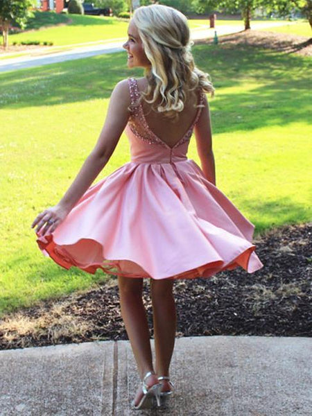 BohoProm homecoming dresses Sparkly Satin Bateau Neckline A-line Homecoming Dresses With Beadings HD099