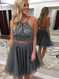 BohoProm homecoming dresses Sparkly Tulle Scoop Neckline 2 Pieces A-line Homecoming Dresses HD163