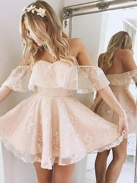 BohoProm homecoming dresses Stunning Lace Off-the-shoulder Neckline A-line Homecoming Dress HD101