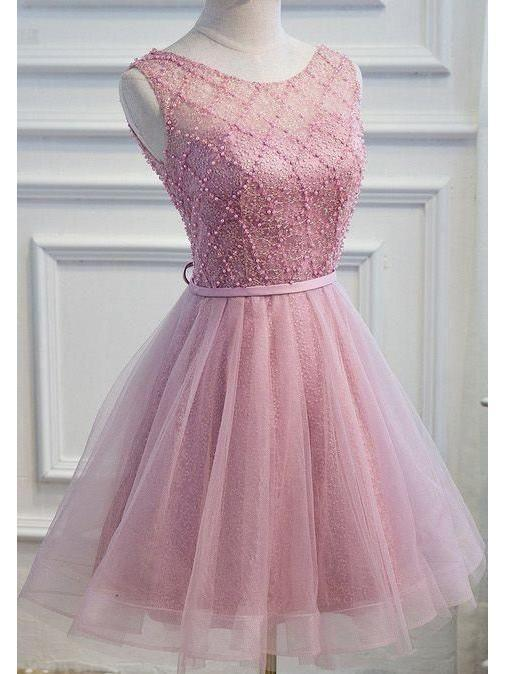 BohoProm homecoming dresses Stunning Tulle Scoop Neckline Short A-line Homecoming Dresses HD173