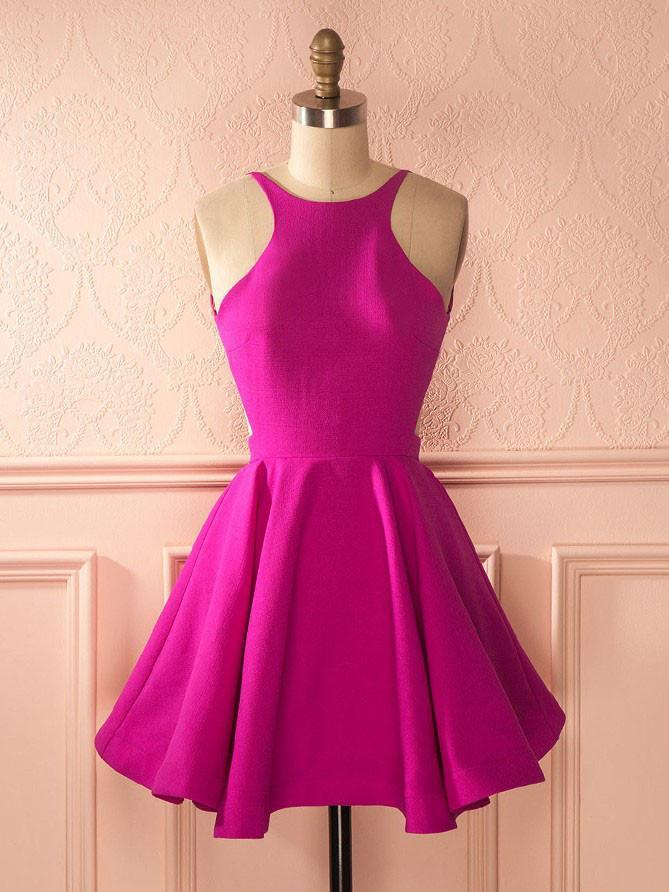 BohoProm homecoming dresses Sweet Stretch Satin Jewel Neckline Backless A-line Homecoming Dress HD042